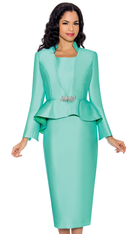 Giovanna G1085-M ( 3pc Womens Silk Look Skirt Suit With Peplum Jacket And Rhinestone Clasp Button )