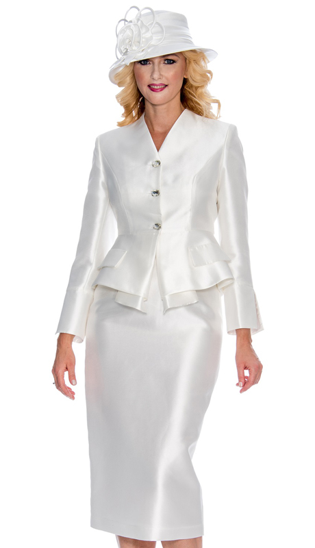 Giovanna G1084-W ( 2pc Womens Silk Look Suit For Church With Layered Jacket And Beautiful Crystal Buttons )