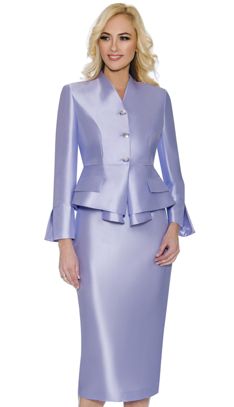 Giovanna G1084-L ( 2pc Womens Silk Look Suit For Church With Layered Jacket And Beautiful Crystal Buttons )