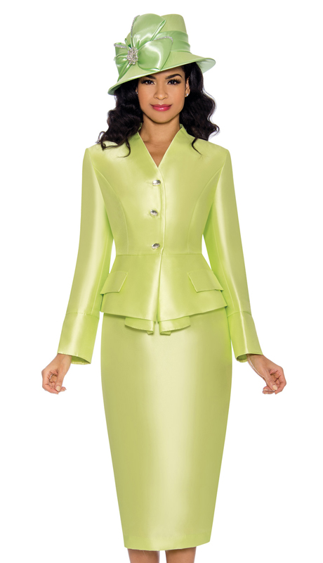 Giovanna G1084-LL ( 2pc Womens Silk Look Suit For Church With Layered Jacket And Beautiful Crystal Buttons )