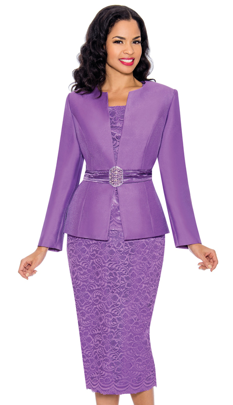 Giovanna 1083-L ( 3pc Silk Look Ladies Church Suit With Stunning Lace Skirt And Lace Cami )