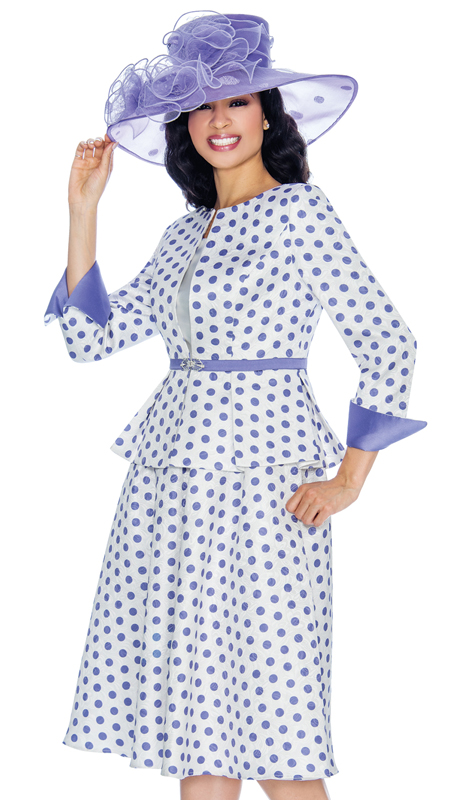 Giovanna G1082-WL ( 3pc First Ladies Polka Dot Brocade Flare Skirt Suit For Sunday )