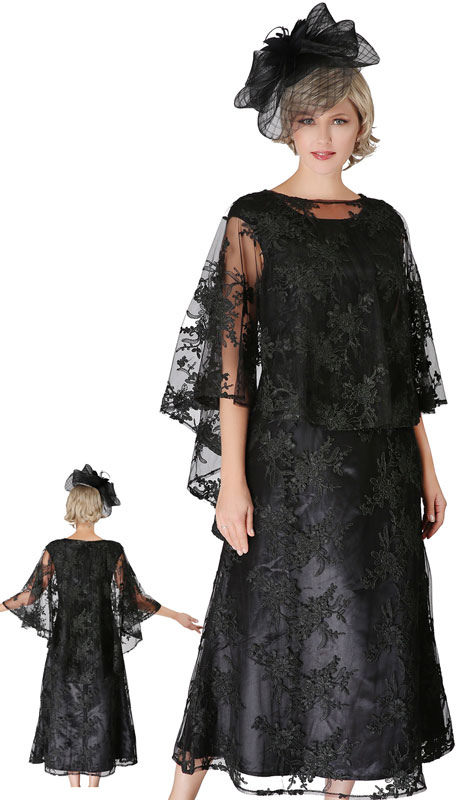 Giovanna D1510-BL ( 2pc Lace First Ladies Dress With Cape )