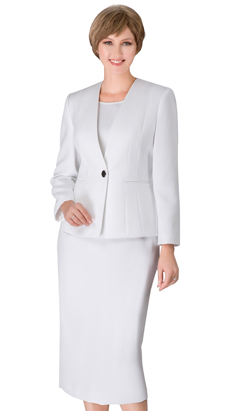 Giovanna S0722-WH ( 3pc Renova First Lady Suit With One Button Collarless Jacket )