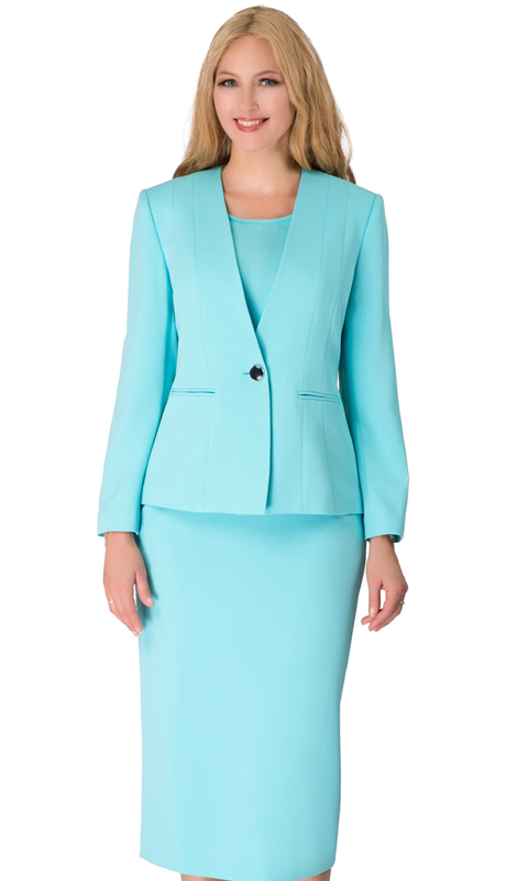 Giovanna S0722-TU ( 3pc Renova First Lady Suit With One Button Collarless Jacket )