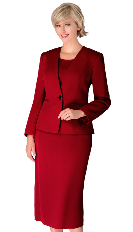 Giovanna S0722-BU ( 3pc Renova First Lady Suit With One Button Collarless Jacket )