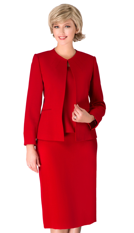 Giovanna S0721-RE ( 3pc Renova Ladies Suit For Church With Collarless Jacket )