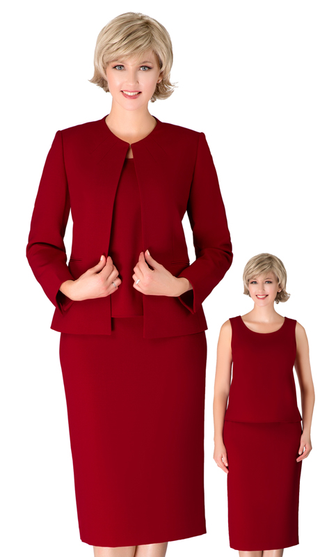 Giovanna S0721-CR ( 3pc Renova Ladies Suit For Church With Collarless Jacket )