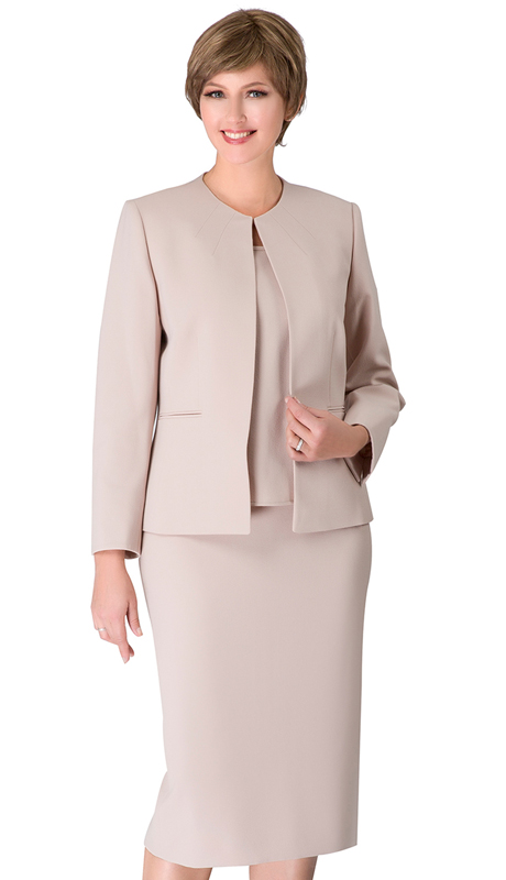 Giovanna S0721-CH ( 3pc Renova Ladies Suit For Church With Collarless Jacket )