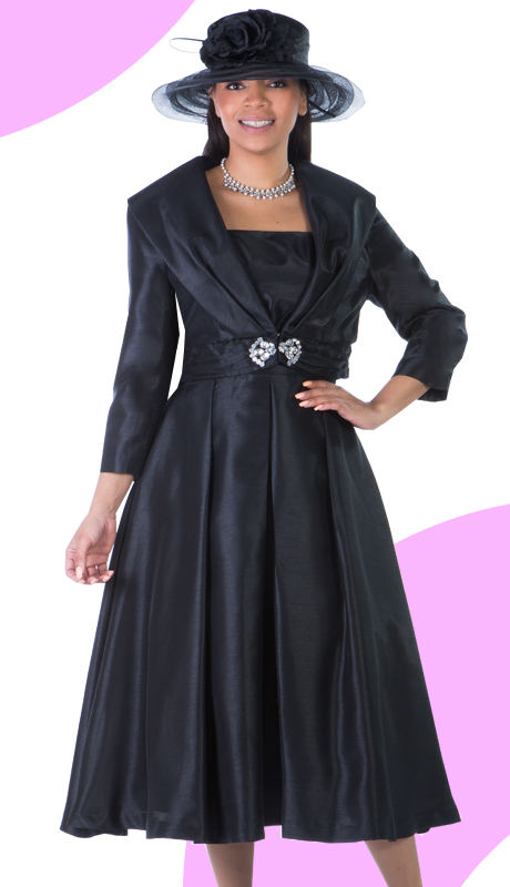 Giovanna 1424-BLK( 2pc Shantung Jacket With Rhinestone Embellishment And Pleated Dress )