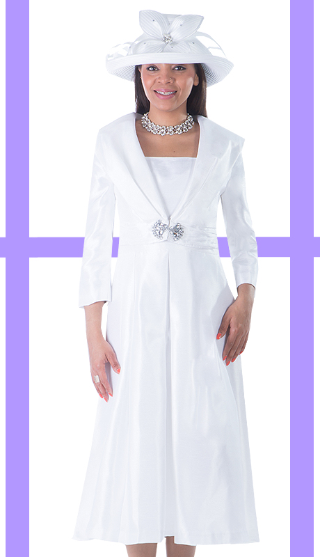Giovanna 1424-WHT ( 2pc Shantung Jacket With Rhinestone Embellishment And Pleated Dress )