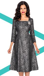 Giovanna 1437-BS  ( 1pc Brocade Women Sunday Dress With Rhinestones Brooch )