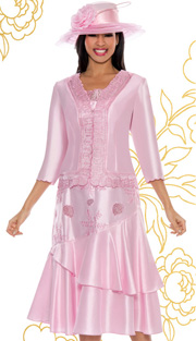 Giovanna 1441-PI-IH ( 2pc Shantung Women Sunday Dress With Embroidery )