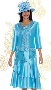 Giovanna 1441-SB-IH ( 2pc Shantung Women Sunday Dress With Embroidery )