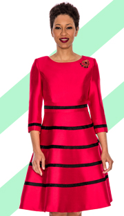 Giovanna 1446-RB  ( 1pc Silk Look Women Church Fit And Flare Dress With Stripe Design And Rhinestone Brooch )