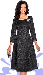 Giovanna 1444-BLK  ( 1pc Brocade Women Church Dress With Rhinestones Brooch )