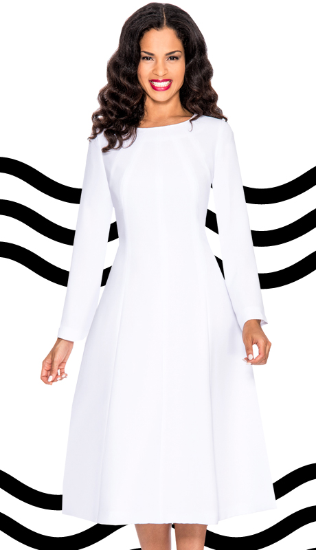 Giovanna 1451-WHT ( 1pc Silk Look Women Dress For Church )