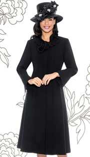 Giovanna 1450-BLK ( 1pc Washable MicroFiber Fit And Flare Dress With Ruffled Collar )