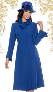 Giovanna 1450-ROY ( 1pc Washable MicroFiber Fit And Flare Dress With Ruffled Collar )