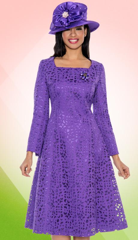 Giovanna 1462-V-227 ( 1pc Laser Cut Brocade Designer Church Dress With Rhinestones Brooch )