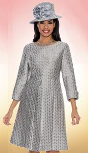 Giovanna 1454-SI-213  ( 1pc Brocade Women Church Dress With Pleated Waist )