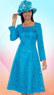 Giovanna 1462-P-227  ( 1pc Laser Cut Brocade Designer  Church Dress With Rhinestones Brooch )