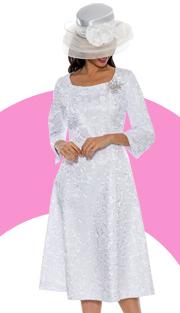 Giovanna 1444-WH-220 ( 1pc Brocade  Women Church Dress With Designer Brooch )