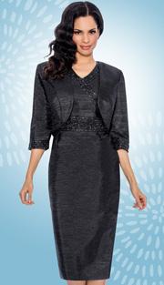 Giovanna 1423-BLK-610 ( 2pc Taffeta Jacket With Sleeveless Dress, Bead And Rhinestone Embellishments )