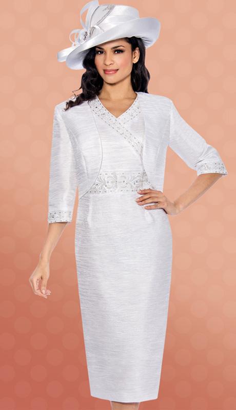 Giovanna 1423-WH-610 ( 2pc Taffeta Jacket With Sleeveless Dress, Bead And Rhinestone Embellishments )