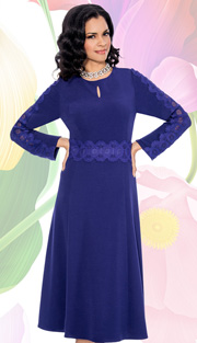 Giovanna 1472-PUR ( 1pc Dress With Keyhole, Lace Trim Around Waist And Down Sleeve )
