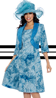 Giovanna 1459 ( 2pc Tie-Dye Print Jacket With Ruched Collar And Fit And Flare Dress )
