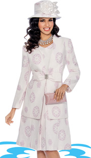 Giovanna 1034-PI-IH ( 2pc Novelty With Floral Pattern, Large Bow With Rhinestone Clasp At Waist On Jacket With Dress )