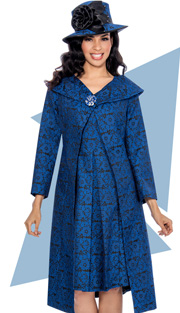 Giovanna 1035-IH ( 2pc Long Jacket With Royal Blue Floral Pattern On Black Background, Shawl Collar And Dress Box Pleat At Waist )