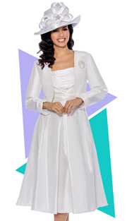Giovanna 1458-WH-610 ( 2pc Shimmer Shantung Jacket With Brooch, Ruched Upper Bodice And Pleated Dress )