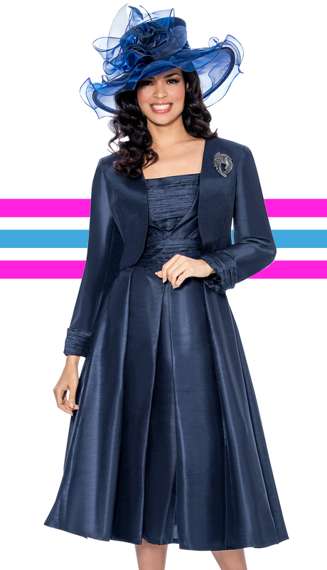 Giovanna 1458-NA-CO ( 2pc Shimmer Shantung Jacket With Brooch, Ruched Upper Bodice And Pleated Dress )