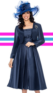 Giovanna 1458-NA-610 ( 2pc Shimmer Shantung Jacket With Brooch, Ruched Upper Bodice And Pleated Dress )