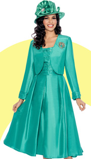 Giovanna 1458-GRE ( 2pc Shimmer Shantung Jacket With Brooch, Ruched Upper Bodice And Pleated Dress )