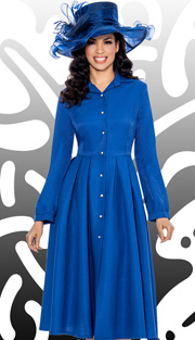 Giovanna 1442-ROY-IH ( 1pc Shimmer Shantung Dress Button Down With Pleated Waist )