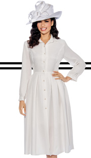 Giovanna 1442-WH-IH ( 1pc Shimmer Shantung Dress Button Down With Pleated Waist )