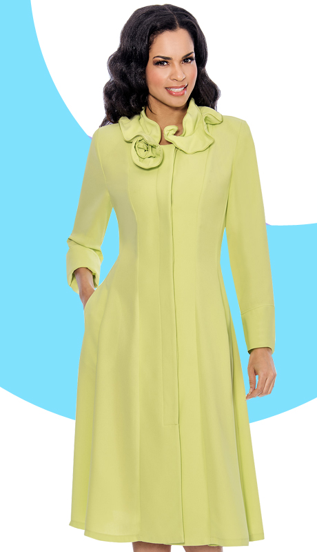Giovanna 1450-LI ( 1pc Washable MicroFiber Fit And Flare Dress With Ruffled Collar )