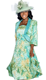 Giovanna 1459-AG ( 2pc Tie-Dye Print Jacket With Ruched Collar And Fit And Flare Dress )