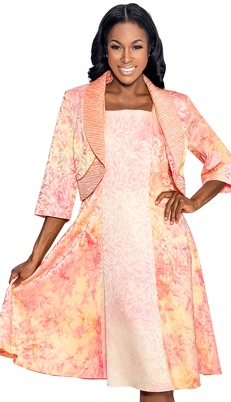 Giovanna 1459-OR ( 2pc Tie-Dye Print Jacket With Ruched Collar And Fit And Flare Dress )