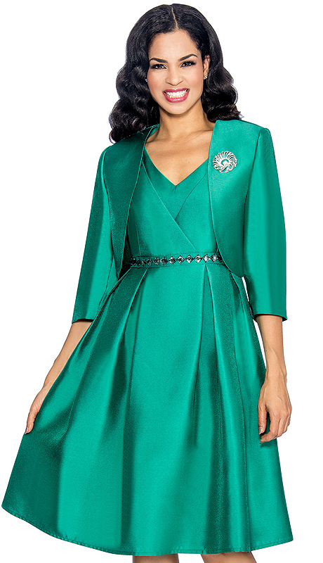 Giovanna 1047-EM ( 2pc Shimmer Shantung Ladies Church Dress With Jacket , Brooch, Layered V-Neck Upper Bodice, Rhinestones At Waist And Pleated Botoom )