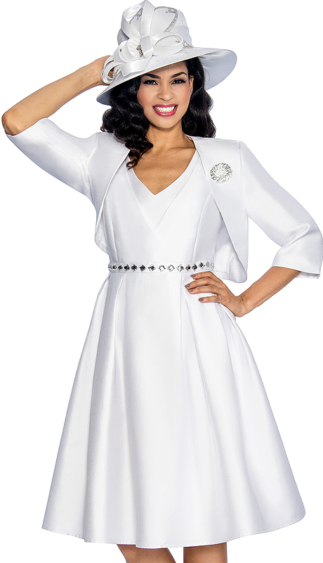 Giovanna 1047-WHT ( 2pc Shimmer Shantung Ladies Church Dress With Jacket , Brooch, Layered V-Neck Upper Bodice, Rhinestones At Waist And Pleated Botoom )