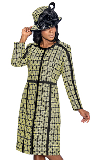 Giovanna 1045-LB ( 2pc Novelty Ladies Church Jacket Dress With Ornate Patterned Long Jacket And Solid V-Neck, Sleeveless Dress )