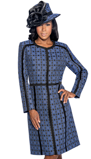 Giovanna 1045-RB ( 2pc Novelty Ladies Church Jacket Dress With Ornate Patterned Long Jacket And Solid V-Neck, Sleeveless Dress )