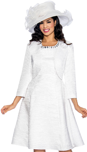 Giovanna 1464-WHT ( 2pc Taffeta Ladies Jacket Dress For Church With Rhinestone Embellished Fit And Flare Dress And Jacket With Fabric Rose Brooch )