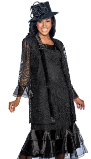 Giovanna 1479-BLK ( 2pc Organza Ladies Church Dress With Sheer Ruffle Details And Embroidered Pattern On Jacket And Dress )