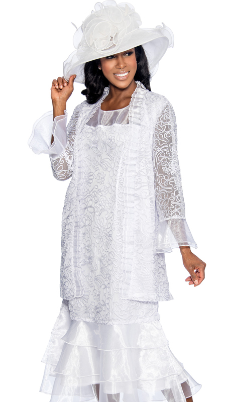 Giovanna 1479-WHT ( 2pc Organza Ladies Church Dress With Sheer Ruffle Details And Embroidered Pattern On Jacket And Dress )