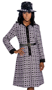 Giovanna 1467-PK ( 2pc Novelty Ladies Church Dress With Ornate Pattern, Button Front And Belt )